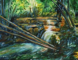 River at Lubaantun Watercolor