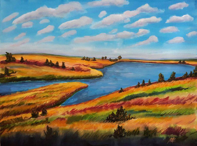 Blue Mound Lake Watercolor II