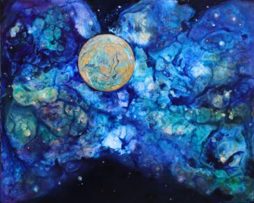 Out There an abstract space painting in mixed media