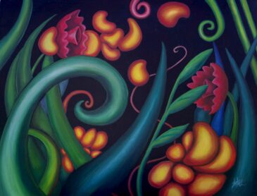 Botanical acrylic painting by Shelly Leitheiser