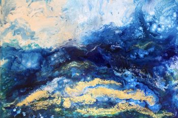 Dream Beach, blue abstract acrylic painting