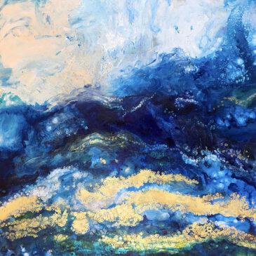 Dream Beach, blue abstract acrylic painting