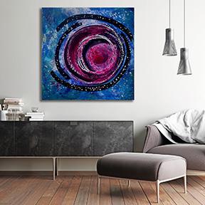 near earth object acrylic painting on wall