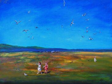 Lake Superior Bird Chase Acrylic Painting